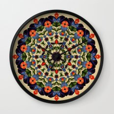 Flower and Fruit Collage Mandala Wall Clock