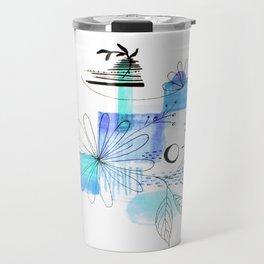 Simple Lines Blue Flowers Travel Mug