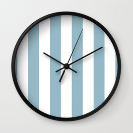 Large Baby Blue and White Vertical Cabana Tent Stripes Wall Clock