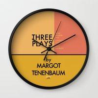 tenenbaum Wall Clocks featuring Three Plays By Margot Tenenbaum by FunnyFaceArt