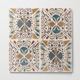 Watercolor Tiles in Earth Tones Metal Print