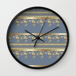 East Arabic Golden ornament . the gray background . Wall Clock