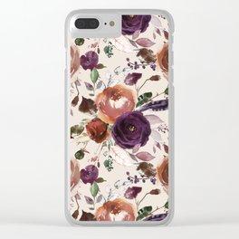 Bohemian orange violet brown watercolor floral pattern Clear iPhone Case