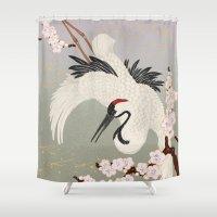 crane Shower Curtains featuring Japanese Crane by Luna Kirsche