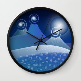 Moonlit Fantasy Mountains in blue Wall Clock