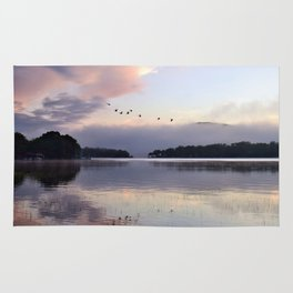 Uplifting II: Geese Rise at Dawn on Lake George Rug