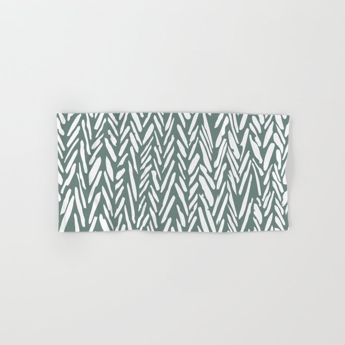 Boho chevron herringbone pattern - moss green and white Hand & Bath Towel