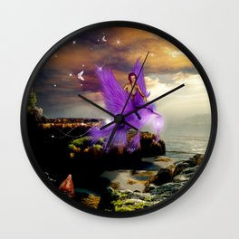 Wonderful fairy with bird Wall Clock
