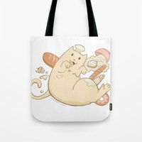 chef Tote Bags featuring Chef Cat by gerbie