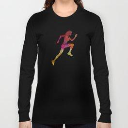Woman runner running jogger jogging silhouette 02 Long Sleeve T-shirt