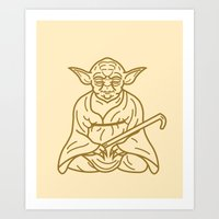 buddhism Art Prints featuring Yoda by Roland Banrevi