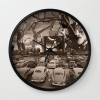 nightmare Wall Clocks featuring Nightmare by Kiki collagist