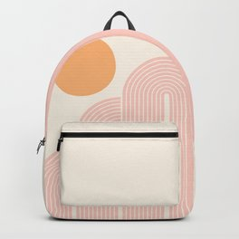 Mid Century Modern Geometric 41 in Coral Shades (Rainbow and Sunrise Abstraction) Backpack