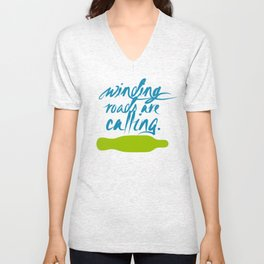 Winding Roads are Calling. Longboard Now. Unisex V-Neck