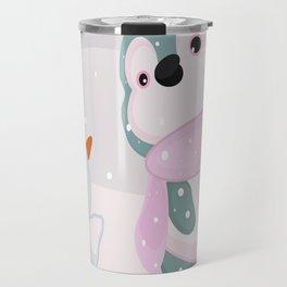 Baby Penguin and Snowman Travel Mug