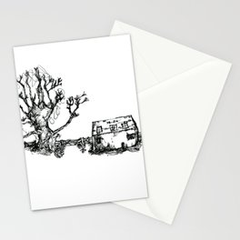 Farm and old wooden fence Stationery Cards