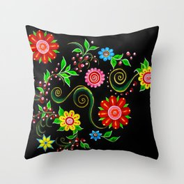 Ukrainian Flowers Throw Pillow