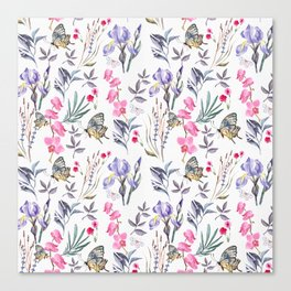 Pink lavender watercolor hand painted orchid floral butterfly Canvas Print