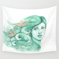ships Wall Tapestries featuring Paper ships by Pendientera