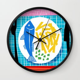 Chippy - england art print, fish and chips, memphis, wacka, food art print, retro art print, 80s Wall Clock