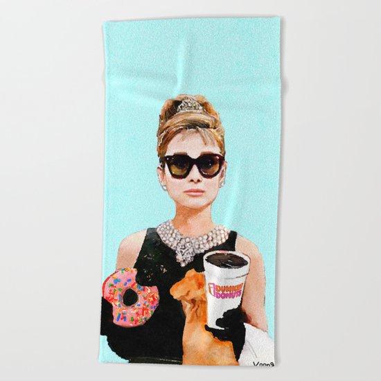 Breakfast at Dunkin Donuts - Audrey Hepburn Beach Towel