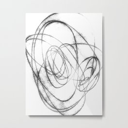 Black and White Minimalist Abstract Line Drawing Metal Print