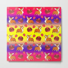 Cute happy playful funny puppy corgi dogs, sweet adorable yummy chocolate cake cartoon and red summer strawberries light sunny yellow purple red design. Metal Print