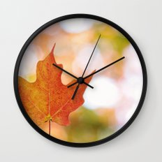 Maple leaf bokeh Wall Clock