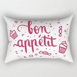 Bon appétit - calligraphy (pink) Rectangular Pillow