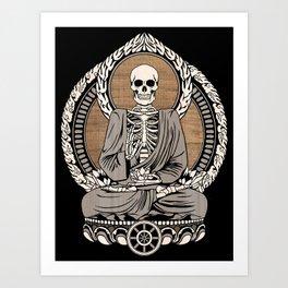 Starving Buddha - Wood Grain Art Print