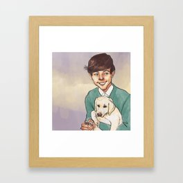 Louis Tomlinson with a Puppy Framed Art Print