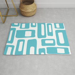 Retro Mid Century Modern Abstract Pattern 336 Light Aqua Blue Green Rug