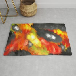 Black Red Yellow White Bold Bokeh Cool Pop Art Abstract Rug