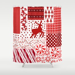 Holiday Red Quilt Design Shower Curtain