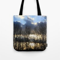 rileigh smirl Tote Bags featuring Sunset by Rileigh Smirl