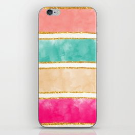 Modern Stripes Pink Red Watercolor Gold Glitter iPhone Skin