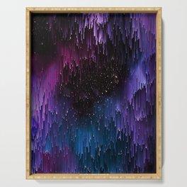 Ultra Violet Glitch Galaxy Serving Tray