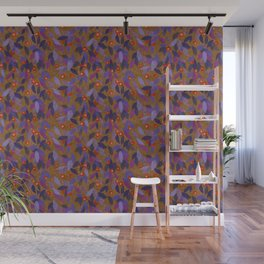 Berries and Leaves Paper Collage Floral Pattern Kumera Rust Violet Wall Mural