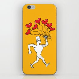 Man Walking with Heart Balloons iPhone Skin