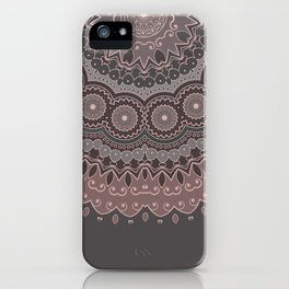 Mandala Spirit, Rose Pink, Gray iPhone Case