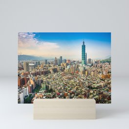 Aerial view and cityscape of Taipei, Taiwan Mini Art Print