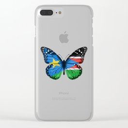 Butterfly Flag Of South Sudan Clear iPhone Case
