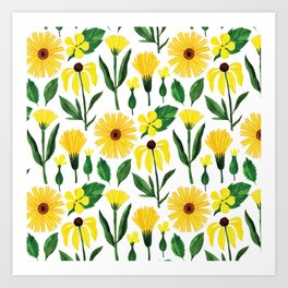 Watercolor sunshine yellow green daisies floral Art Print