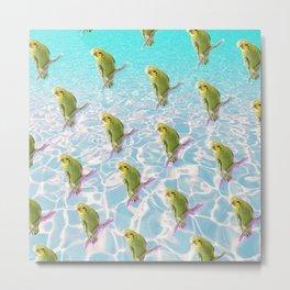 Poolside Parakeet Metal Print