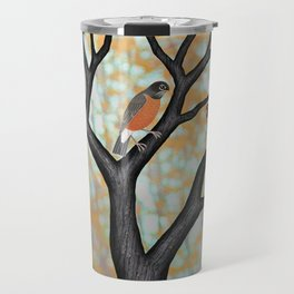 American robins at sunrise Travel Mug