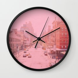 Rose Colored Village - New York City Wall Clock