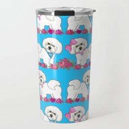 Bichon Frise Floral Travel Mug