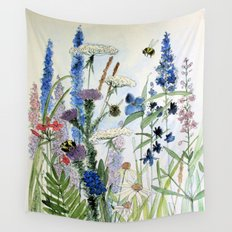 Wildflower in Garden Watercolor Flower Illustration Painting Wall Tapestry