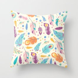 Pretty Boho Peacock Feather Pattern Throw Pillow