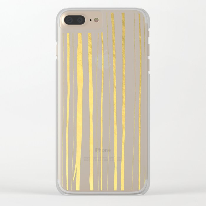 Vertical Living Navy and Gold Clear iPhone Case